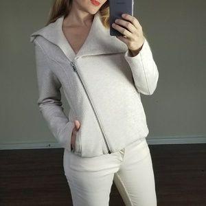 CAbi White Cream Zip Up Cotton Textured Blazer